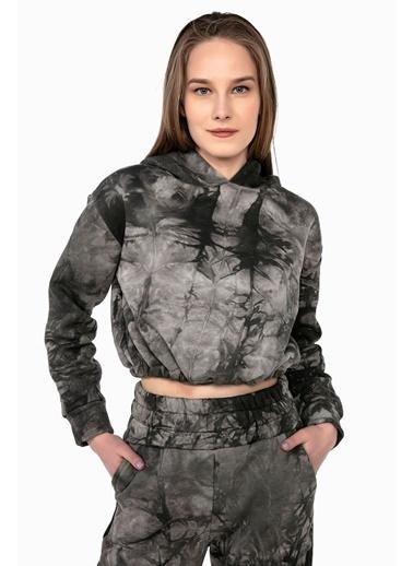 Tiffany&Tomato Batik Desenli Beli Ip Ile Ayarlanabilir Içi Şardonlu Crop Sweatshirt-Vizon Haki